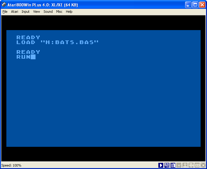 Atari Bats BASIC file load