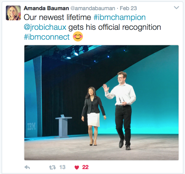 I got the IBM Lifetime Champion award on stage!