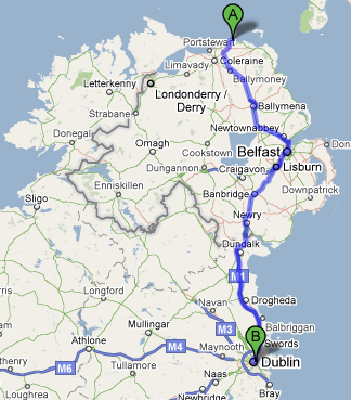 The best route from Giants Causeway to Dublin