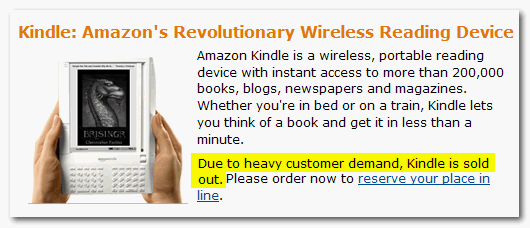 Amazon Kindle is sold out