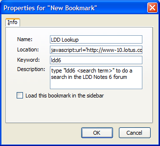 Example bookmark for LDD keyword lookup