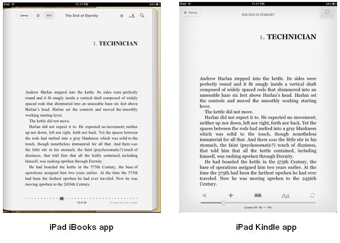 iBooks app and Kindle app on iPad